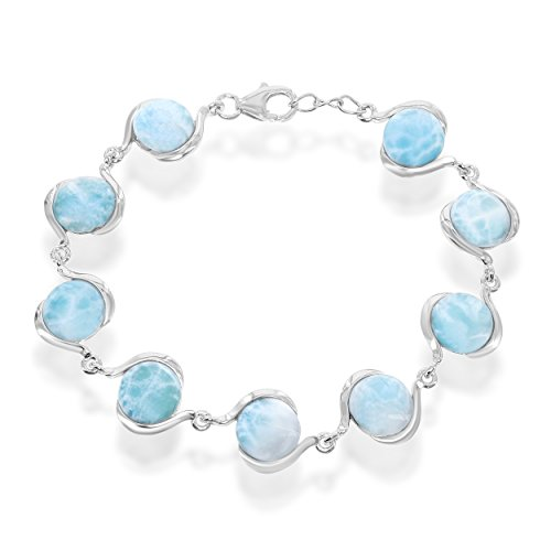 Sterling Silver 7.5'' Round Natural Larimar Link Bracelet by Beaux Bijoux