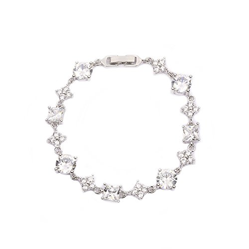 AMYJANE Silver Tennis Bracelet for Women - Sterling Silver Square and Round Swarovski Crystal Cubic Zirconia CZ Bridal Bracelet for Wedding Party Prom Girls Bridesmaids Gift by AMYJANE