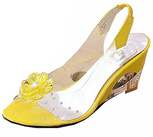 Elegante Da 34 Tamanho Rom Sandálias Senhora Salto Casuais costura Amarelas Vestido 41 Calçados Alta De Cunha Grande q86wxO56