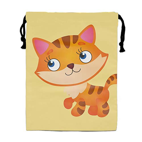 Cute Fluffy Red Cat Party Favors Bags Gift Candy Drawstring Pouch