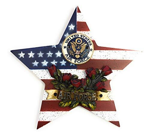 "Rainbow Air Force Star Rose American Flag Wall Plaque 9""X9"""