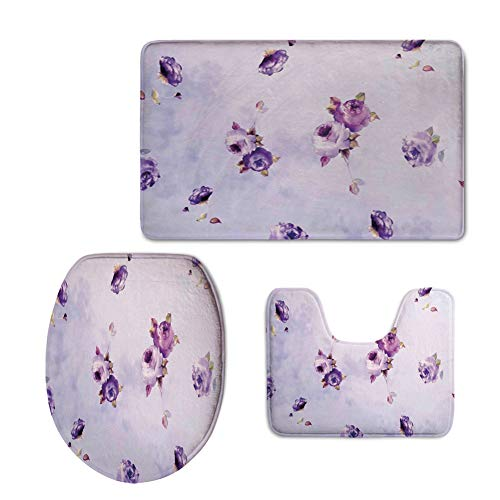 Fashion 3D Baseball Printed,Roses Decorations,Floral Pattern with Mauve Roses in Purple Color Dreamy Clouds Retro Soft Pale Art,Lilac Violet,U-Shaped Toilet Mat+Area Rug+Toilet Lid Covers - Rug Runner Baseball