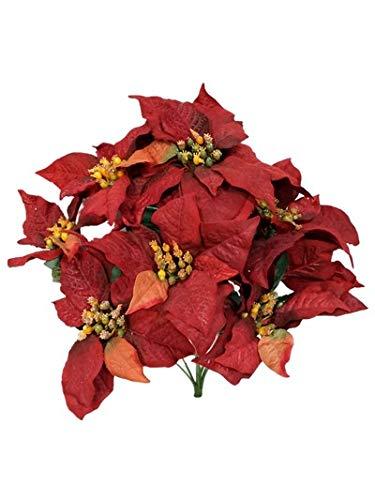 Sweet Home Deco 13'' Silk Poinsettias Artificial Flower Bush Christmas Decorations (8 Stems/ 8 Flower Heads) (Burgundy-Poinsettia Bunch x1) (Poinsettia Prices)