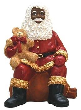 African American Christmas Santa Sitting Figurine by Ebony Treasures