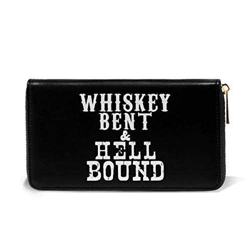 3D Print Whiskey Bent And Hellbound Leather Wallet Big Long Zipper Clutch With Card Holder Organizer