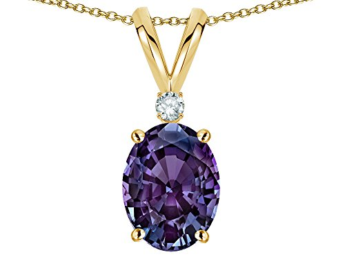 Alexandrite Slide (Star K Oval 7x5mm Simulated Alexandrite Pendant Necklace 14 kt Yellow Gold)