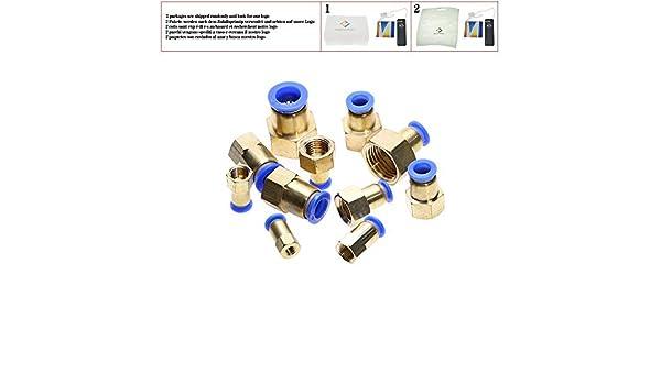 1//2 Tuber/ía de aire 10 mm 12 mm 8 mm 6 mm Tubo de manguera 1//8  3//8  1//2  BSP 1//4  Rosca hembra Conector neum/ático de lat/ón Conexi/ón r/ápida de la junta,PCF-10mm