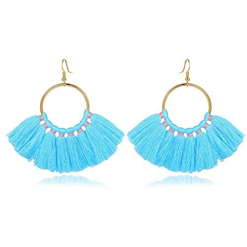 (mecresh Blue Tassel Earrings Bohemian Long Fringe Drop Hoop Dangle Earrings Women Gifts)