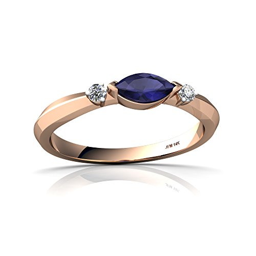 14kt Gold Sapphire and Diamond 6x3mm Marquise Art Deco Ring