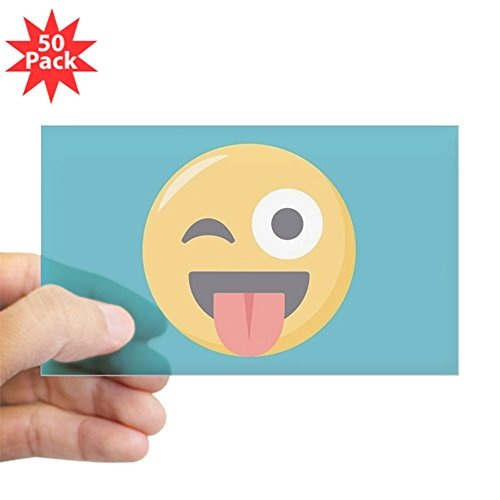 CafePress - Winky Tongue Emoji - Sticker (Rectangle 50 pk) by CafePress