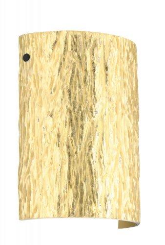 Besa Lighting 7090GF-BK 1X75W A19 Tamburo 8 Wall Sconce with Stone Gold Foil Glass, Black Finish