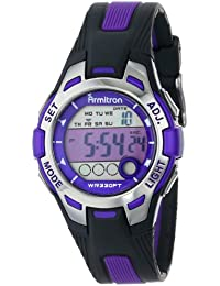 Women's 45/7030PUR Purple Accented Black Resin Strap Digital Chronograph Watch