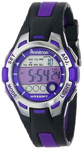 Armitron Sport Women's 45/7030PUR Purple Accented Black Resin Strap Digital Chronograph Watch (Armitron Sports 50)