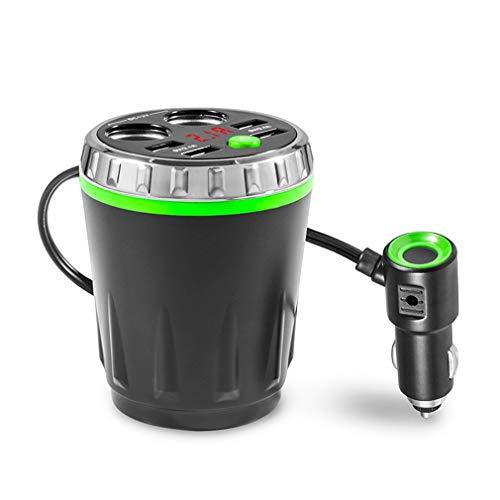Mexidi Bluetooth Car FM Transmitter MP3 Music Player Cigarette Lighter Adapter Splitter 4 Ports USB Charger (Green)
