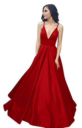 (VinBridal Long Spaghetti Straps Satin Ball Gown Prom Dresses with Pockets Red 12)