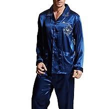 Amybria Men High Quality Silk Pajamas Set Blue 4 Sizes