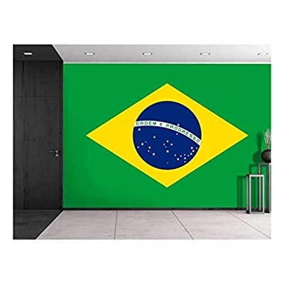 Stunning Technique, Large Wall Mural Flag of Brazil Vinyl Wallpaper Removable Decorating, Professional Creation