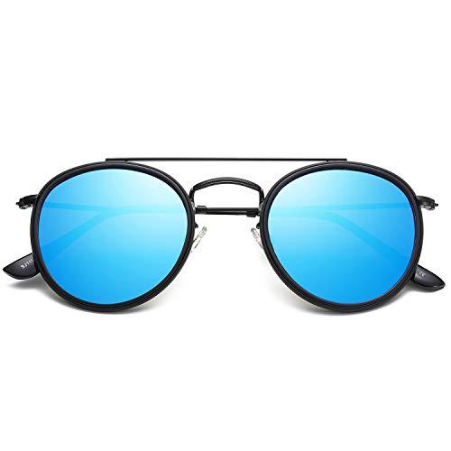 SOJOS Small Round Polarized Sunglasses Double Bridge Frame Mirrored Lens SUNSET SJ1104 with Black Frame/Blue Mirrored Polarized Lens