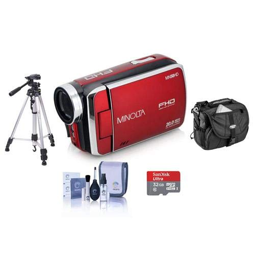 Minolta MN50HD 1080p Full HD 20MP Digital Camcorder, Red – Bundle with 32GB MicroSDHC Card, Video Case, Tripod, Cleaning Kit