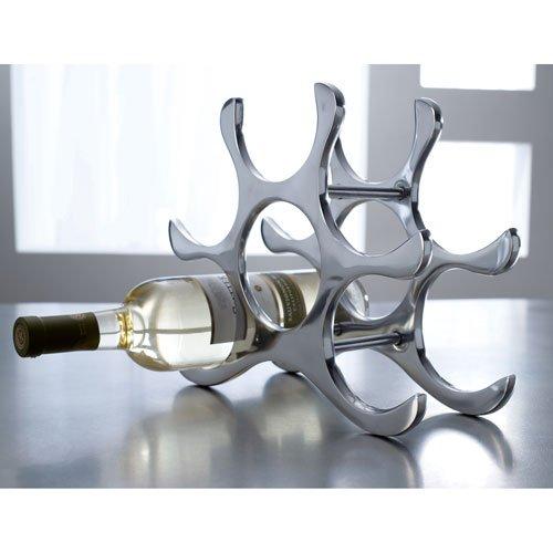 Countertop Wine Rack, 6 Bottle Holder, Polished Aluminum Silver KINDWER A1176