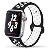 YC YANCH Greatou Compatible for Apple Watch Band,Soft Silicone Sport Band Replacement Wrist Strap Compatible for iWatch Apple Watch Series 3/2/1,Nike+,Sport,Edition,42mm M/L,Black White