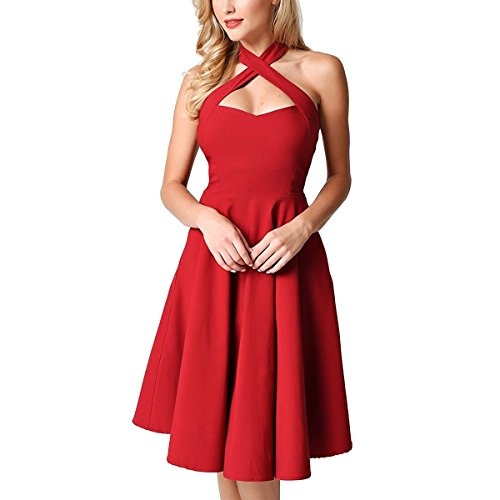 - Samtree Halter Dress For Women,Vintage Fit and Flare Swing Cocktail Party Dresses(M(US 8-10),Red)