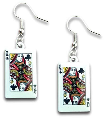 Black Queen of Spades Poker Playing Cards Dangle Earrings by Pashal