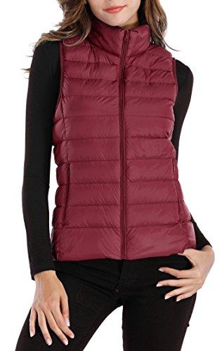 Sarin Mathews Womens Packable Ultra Lightweight Down Vest Outdoor Puffer Vest Red S (Puffer Red)