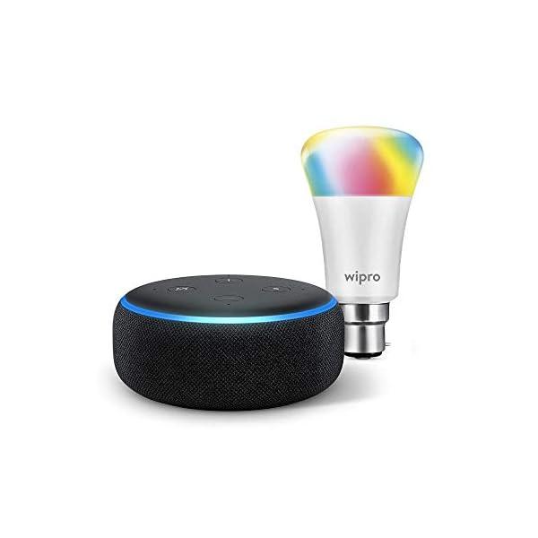 41rkA%2BAv1vL Echo Dot (Black) Combo with Wipro 9W LED Smart Color Bulb - Smart Home Starter Kit