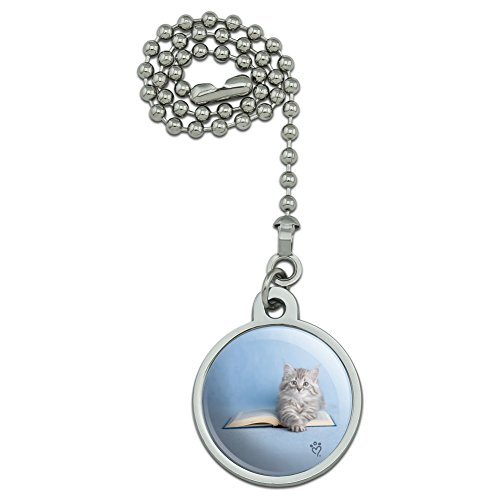 GRAPHICS & MORE Siberian Tabby Kitten Cat Sitting Reading Book Ceiling Fan and Light Pull Chain