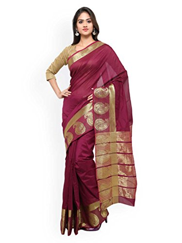 - Lehja Burgundy Art Silk Woven Design Kanjeevaram Saree