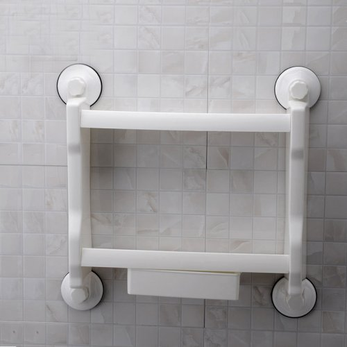 Bathroom Shelf Super Strong Power Suction Contemporary Plastic 1 pc Wall Mounted Removable