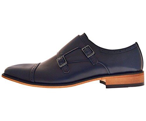 Amali Mens Navy Blue High Gloss Smooth Double Monk Strap Cap Toe Dress Shoe w. Woodlike Sole: Baker-002 dHgQUa
