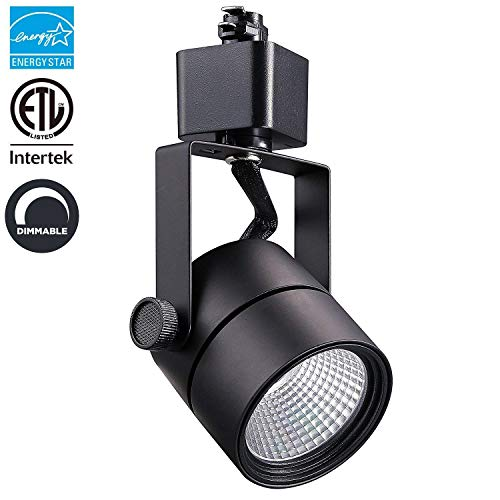 LED Track Light Head Black Finish Round CRI90+, 3000K Warm White Dimmable, 8W (60W Equiv.) 600LM, Adjustable 40° Beam Angle Spotlight for Wall Art Exhibition Retail Lighting, Energy Star & ETL-Listed