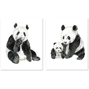 Panda art #A028 - Set of 2 prints (8x10).Panda wall art.Panda bear pictures.Panda watercolor print.Panda painting.Panda artwork. Jungle watercolor animals.Jungle prints.Panda pictures