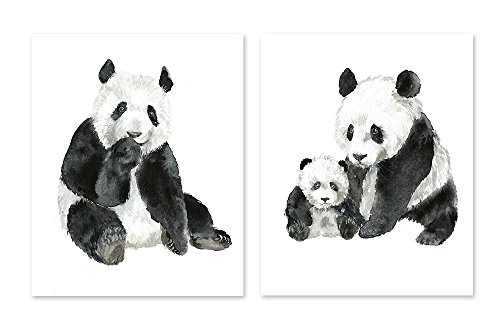 Panda art #A028 - Set of 2 prints (8x10).Panda wall art.Panda bear pictures.Panda watercolor print.Panda painting.Panda artwork. Jungle watercolor animals.Jungle prints.Panda pictures