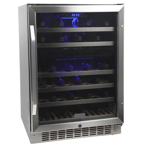 EdgeStar 46 Bottle Built-In Dual Zone Wine Cooler - Stainless Steel