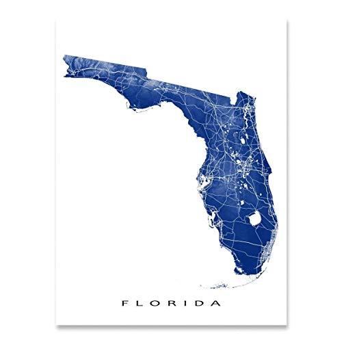 Florida Map Print, USA State Art Poster, Miami, Keys, Tampa, Jacksonville (Home Jacksonville Decor Fl)