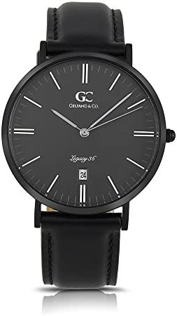 Gelfand Co. Unisex Minimalist Watch Black Leather Varick 36mm Silver with Black Dial