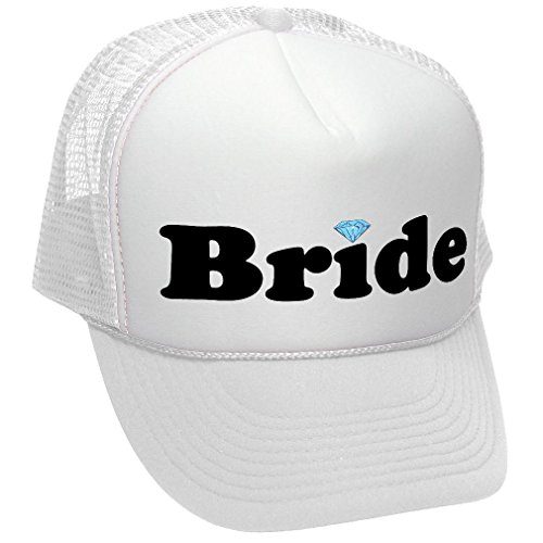 BRIDE - WEDDING BRIDESMAID MARRIAGE ROMANCE WIFE - Unisex Adult Trucker Cap Hat, White (Baseball Hat Wedding)