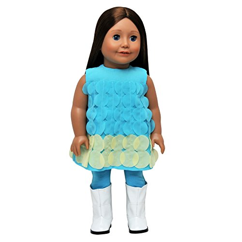 The Queen's Treasures Complete Turquoise Legging Doll Clothing Outfit Comes Complete with White Go-Go Boots! Clothes & Accessories are Perfectly Sized for 18 Inch American Girl Dolls.