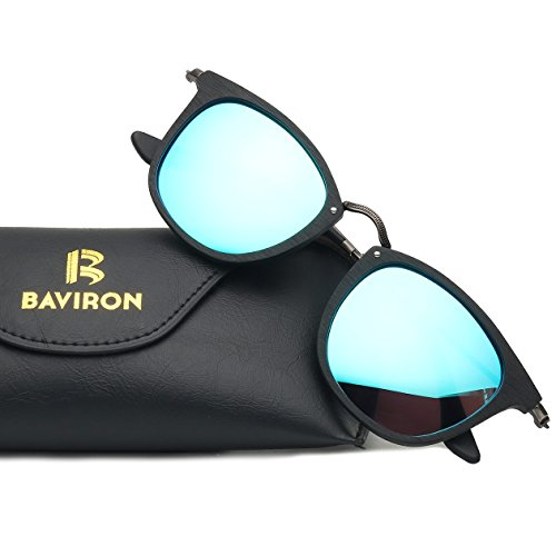 BAVIRON Plate Sunglasses Unisex Handmade Retro Smooth Acetate Polarized Glasses Popular Eyewear(C10 Black / - Popular Eyewear