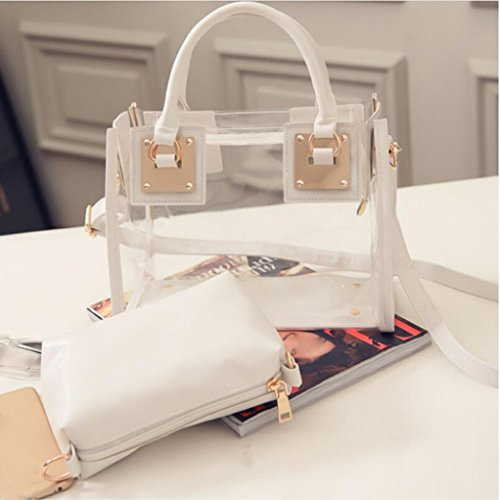 Hunpta Women Transparent Jelly Fashion Messeng Bag Candy Bag Handbag Shoulder Beige Beach arwgaq1x