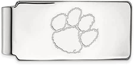 Sterling Silver LogoArt Official Licensed Collegiate Clemson University (CU) Money Clip
