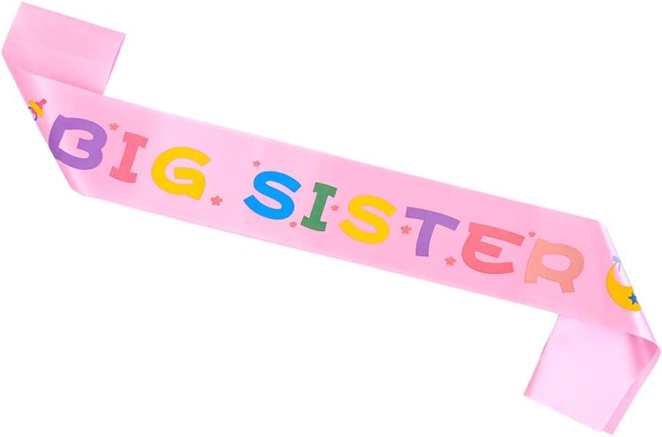 Topfunyy Big sister Sash Pink Stain Baby Shower Sash for Baby Shower Big Sister to Be Party Decorations