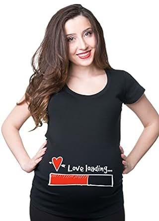 Silk Road Tees Camiseta del Embarazo Amor de Las Mujeres Cargando Superior de la Maternidad Small Gris