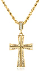 Goldtone or Silvertone - Iced Out Sandblast Curved Cross Pendant with a 24 Inch Rope Necklace (Goldtone)