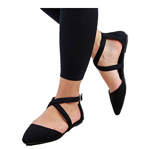 Shoes for Women Round Toe Platform Strap Flat Heel Buckle Leopard Sandals (Black -3, US:9.0) ()