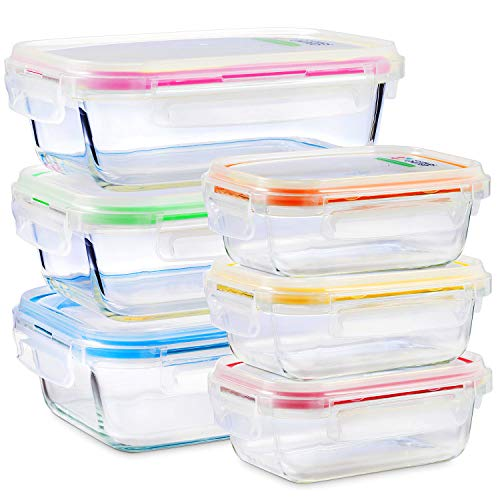Glass Food Storage Containers with Lids - 6 Pack, 2 Sizes (35 Oz, 12 Oz) - Meal Prep Lunch Boxes - Microwave, Fridge, Freezer, Dishwasher, Oven Safe - BPA-free - -