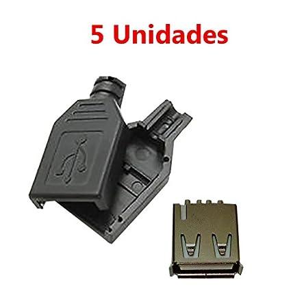 x5 conector usb hembra 2 0 tipo a 4 pin para cable con carcasa
